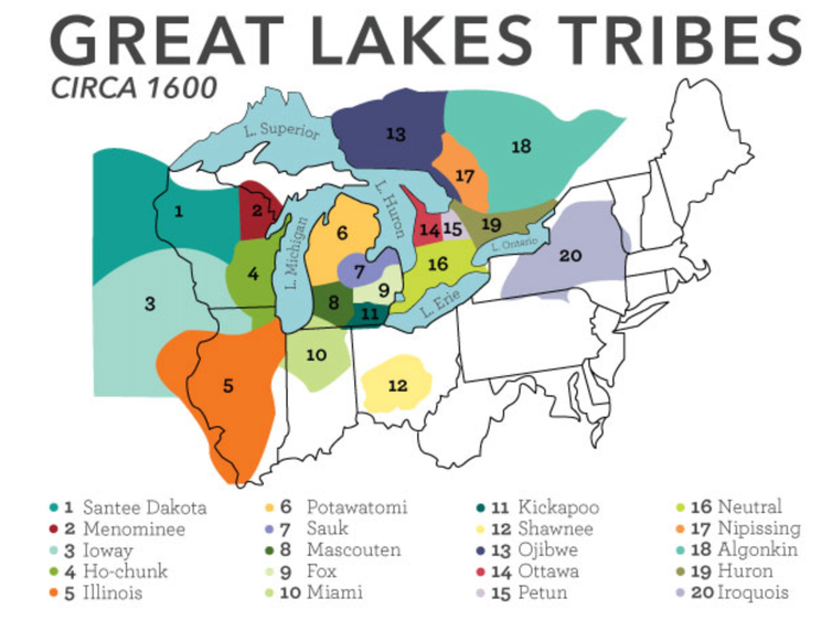 Map of Great Lakes tribes c. 1600.