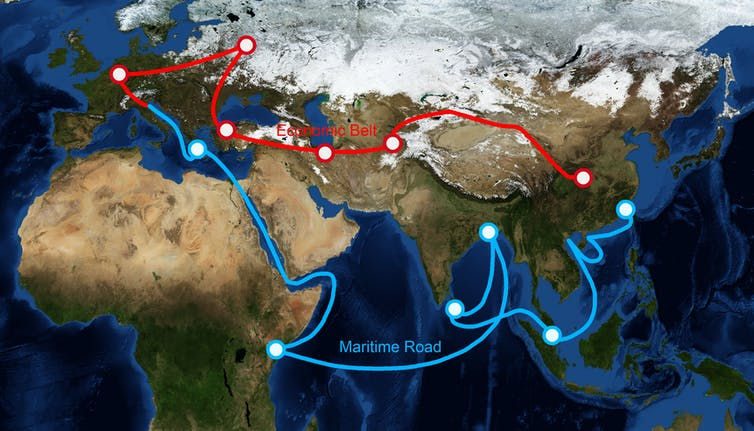 A map showing sea and land routes planned under the Belt and Road initiative.
