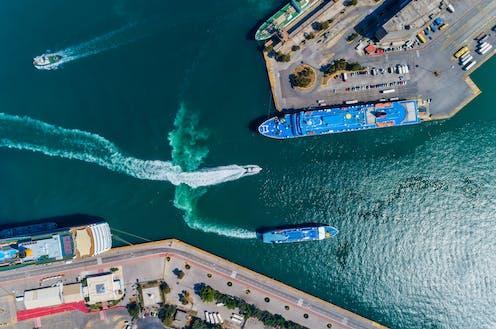 Aerial view of Piraeus Port, Greece