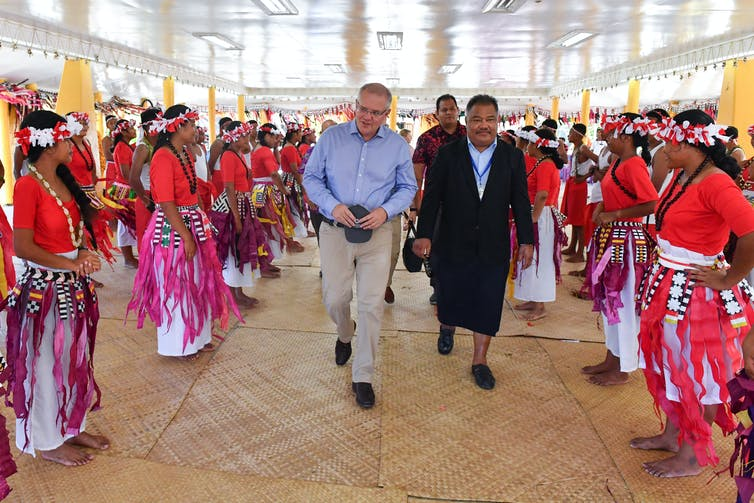 Scott Morrison farewelled by school children in Funafuti, Tuvalu