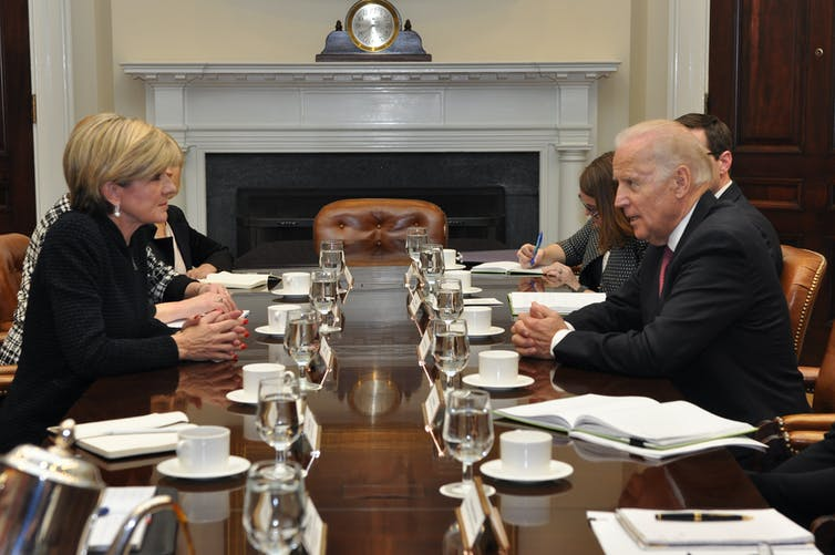 Then Foreign Minister Julie Bishop meets with Vice-President Joe Biden at the White House.