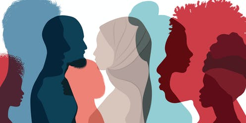 Group of silhouettes of diverse people