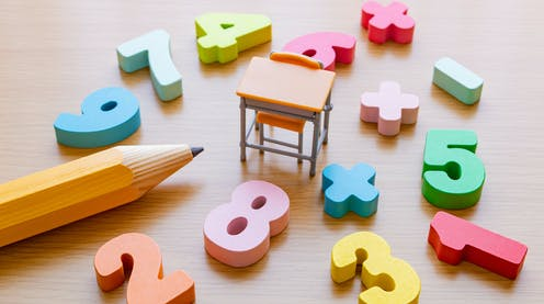 Numbers, a desk and pencil