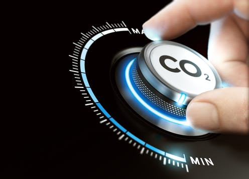 A hand adjusts a circular dial reading 'CO2'