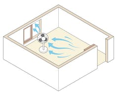A graphic showing a fan blowing air out of an open window.
