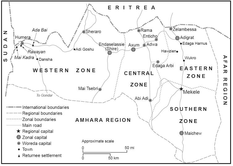 Map showing Ethiopia's Tigray region.