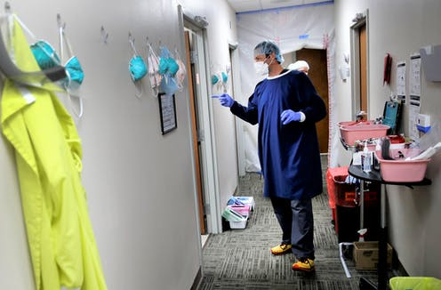A doctor in a rural hospital in Lakin, Kansas.