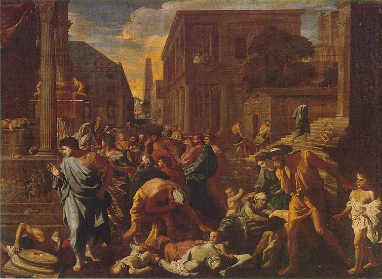 The Plague of Ashdod painting by Poussin. The subject of this painting comes from a story in the Book of Samuel in the Old Testament of the Bible about the Plague of Ashdod.