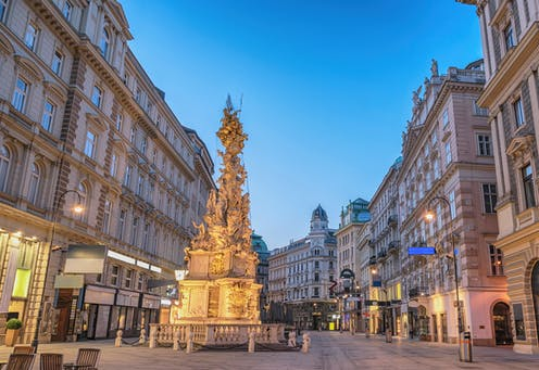A street shot of the Pestsaule plague monument in Vienna.