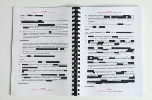 Two pages from the Brereton report, heavily redacted