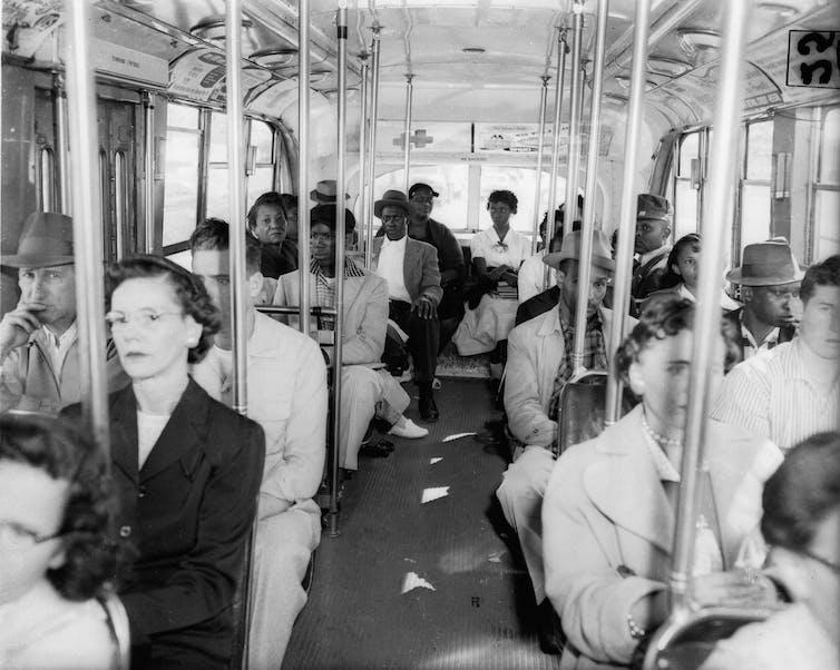A segregated bus in Atlanta, GA in 1956.