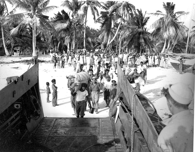 Marshall Islanders are forcibly evacuated from Bikini Atoll in 1948