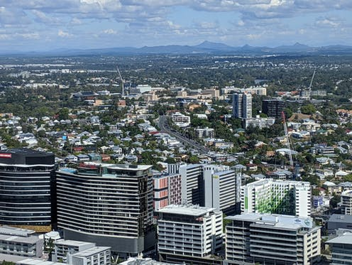 View of South Brisbane high rises and houses.