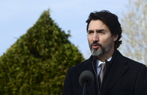 Justin Trudeau announces a bill to reporters