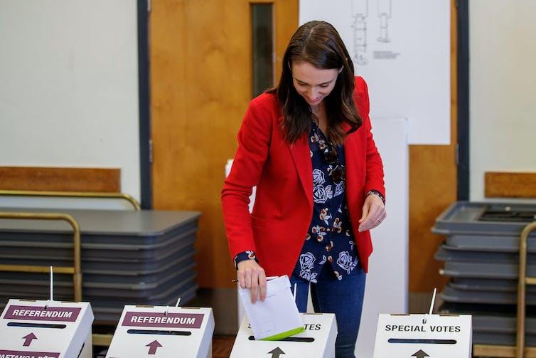 New Zealand Prime Minister Jacinda Ardern casting her vote.