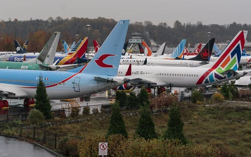 Boeing 737 MAX airplanes stored in a parking lot in Seattle, Washington, USA, November 18 2020.