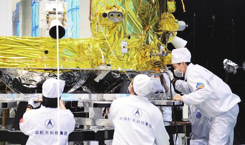 Image of the Chang'e 5 orbiter-return capsule being assembled.