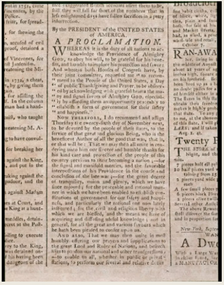 Washington's proclamation as printed in a newspaper of the time