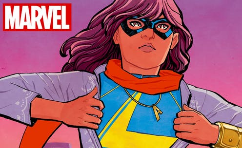 Kamala Khan shows her Ms. Marvel superhero costume.