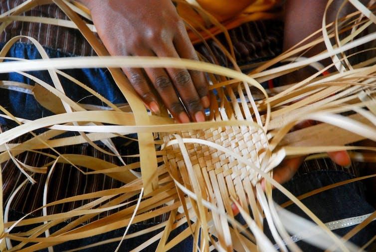 hands basket weaving
