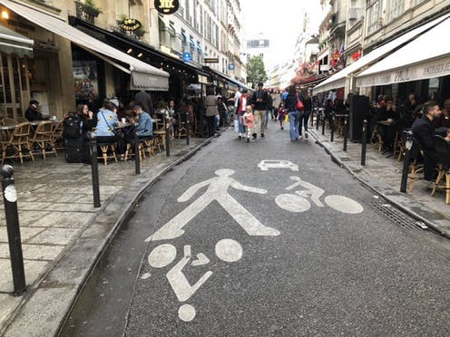 A street in which priority is given to pedestrians and cyclists