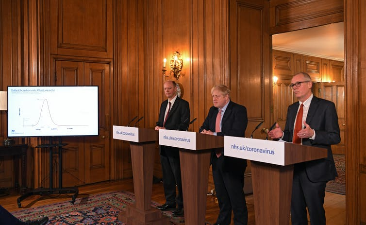 UK government press briefing with Prime Minister Boris Johnson, flanked by Chris Whitty and Patrick Vallance.