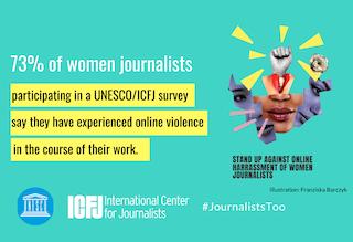 Afiche de la campaña de la ICFJ/Unesco para combatir la violencia contra las mujeres.