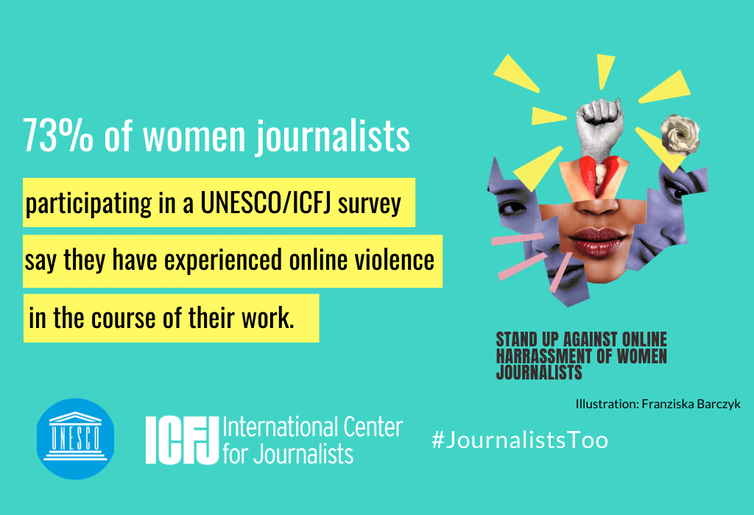 Poster for ICFJ/Unesco campaign to combat violence against women.