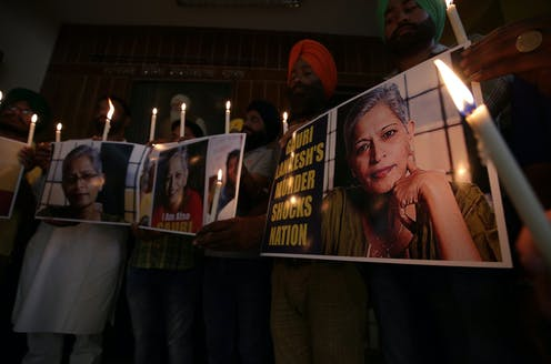 Indian women protesting the murder of journalist Gauri Lankesh, Amritsar, 2017.