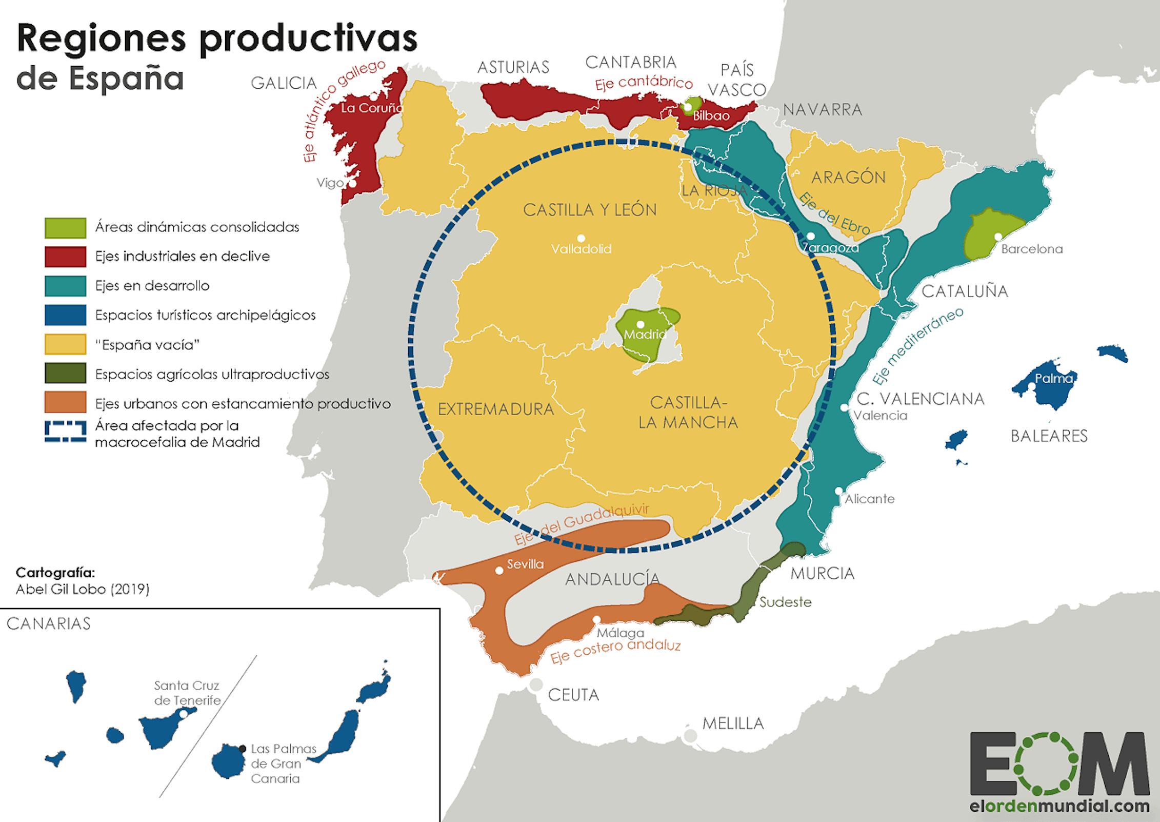 Mapa de las regiones productivas de España.El Orden Mundial / EOM / Abel Gil Lobo,CC BY-NC-ND