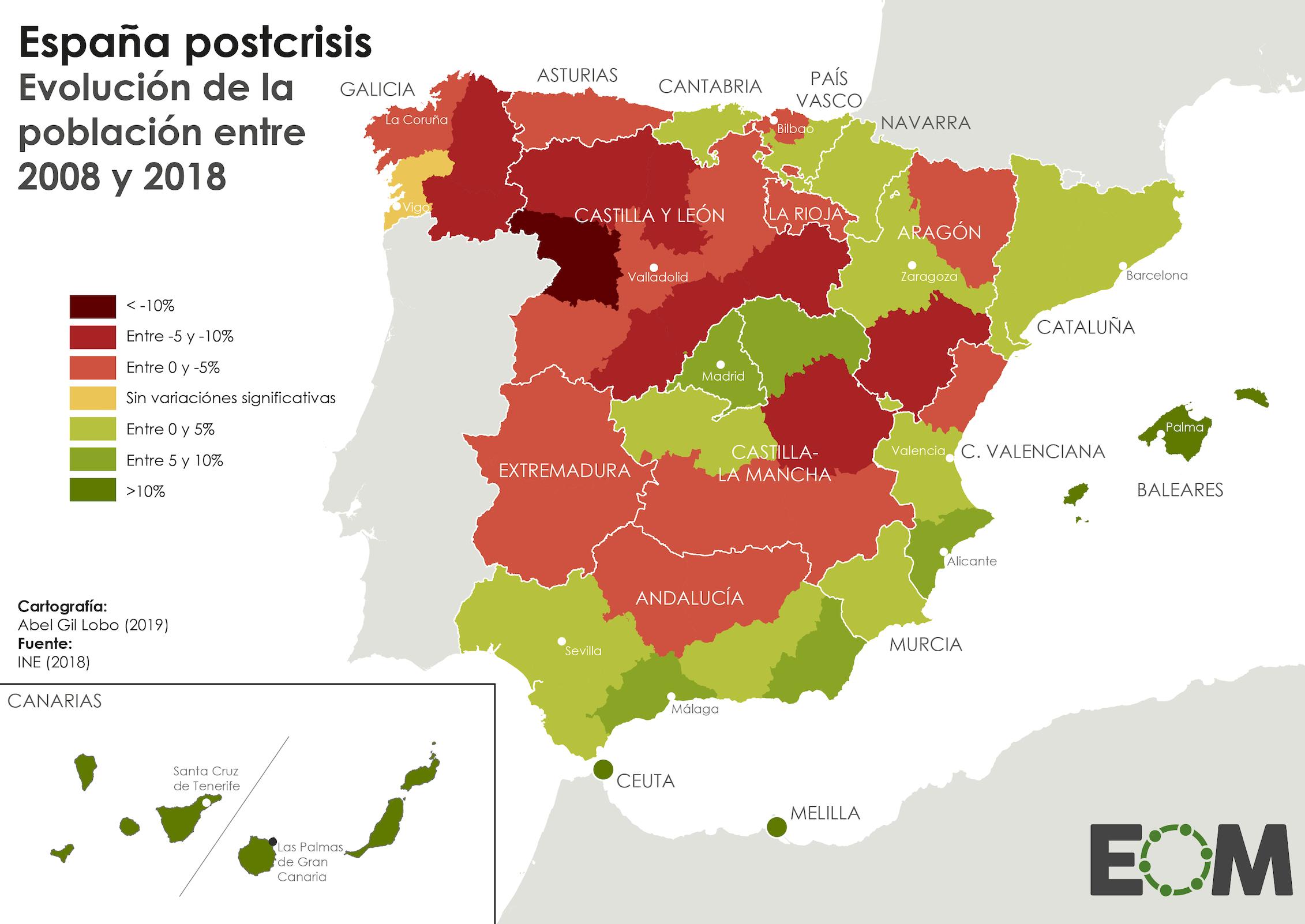España postcrisis: Evolución de la población entre 2008 y 2018.El Orden Mundial / EOM / Abel Gil Lobo,CC BY-NC-ND