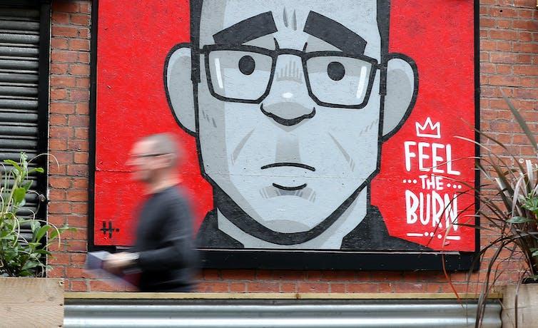 A mural of Manchester Mayor Andy Bunnham