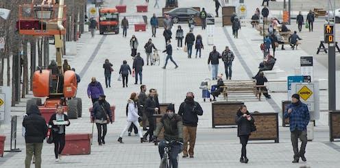People walking down the street