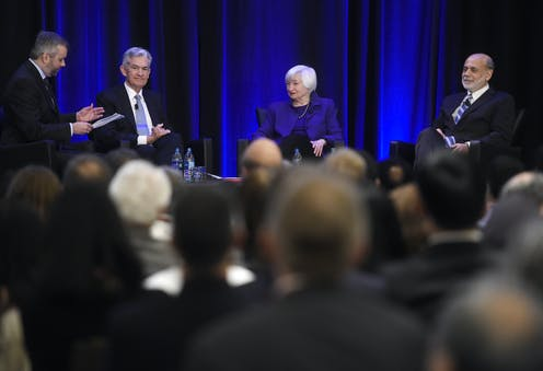 A New York Times journalist speaks with Fed Chair Jerome Powell and his predecessors Janet Yellen and Ben Bernanke.