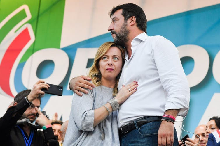Giorgia Meloni et son allié Matteo Salvini, manifestation Italie