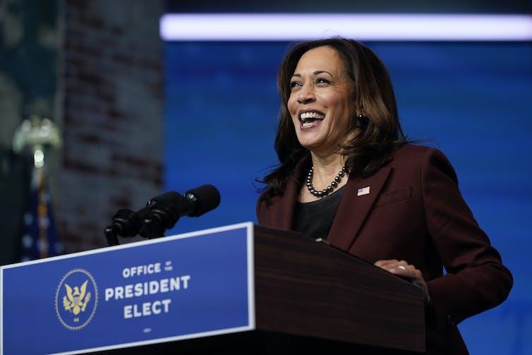 Vice President-elect Kamala Harris speaks in Wilmington, Del,, on Nov. 24.