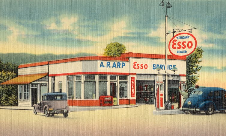 Illustration of an old Esso gas station.