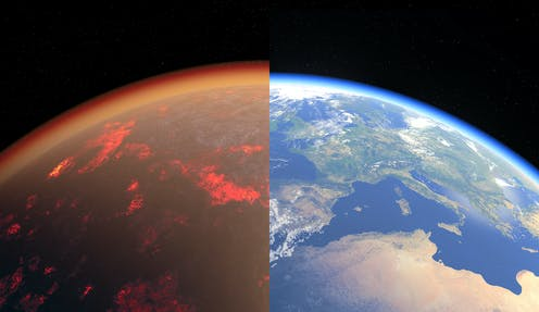 An illustration showing Earth from space. Half of the image shows the glowing, reddish atmosphere of the early Earth, half shows it as it is today.