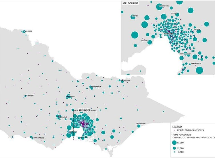 Map of medical centres in Victoria