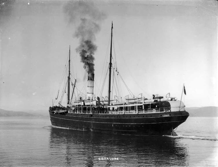 old steamship at sea