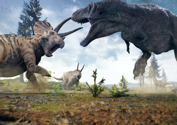 3D rendering of _T. rex_ facing off against a _Triceratops_ herd.