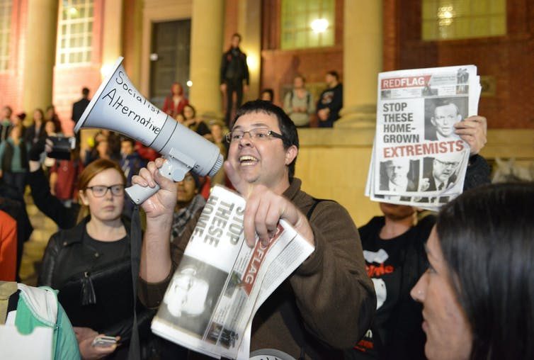 A protest rally at Adelaide University