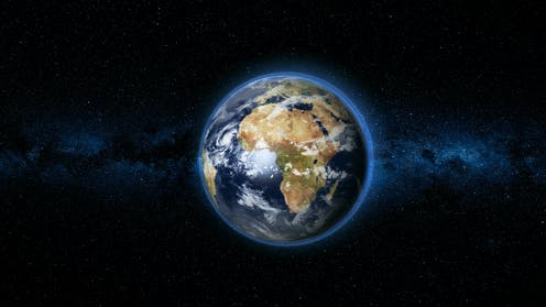Image of the planet Earth centred on continent of Africa on dark space background.