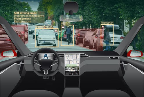 Illustration of a self-driving car front windshield with potential hazards identified