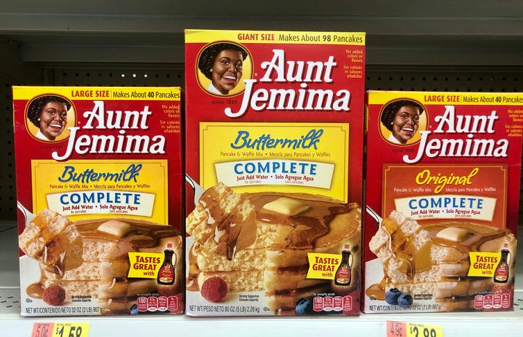 The Aunt Jemima's brand of cake mixes, syrups and breakfast foods has been around since 1889.