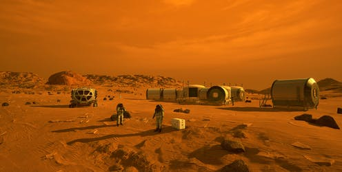 Human infrastructure as it may look on Mars