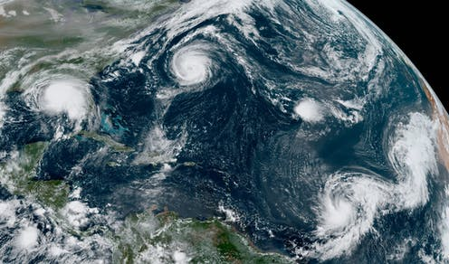 Satellite image of five tropical storms across the Atlantic at once.