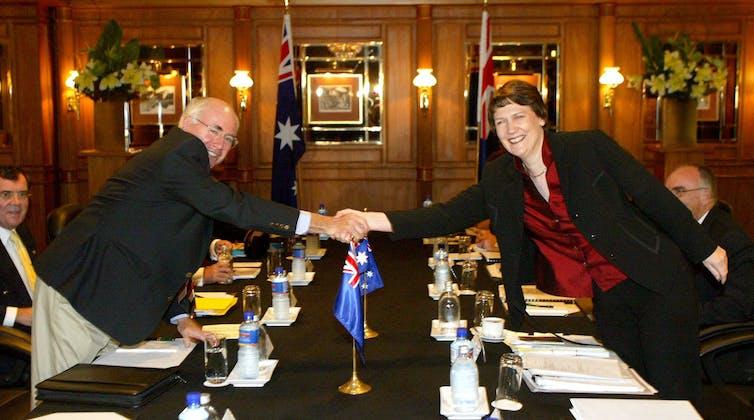 John Howard and Helen Clark shaking hands