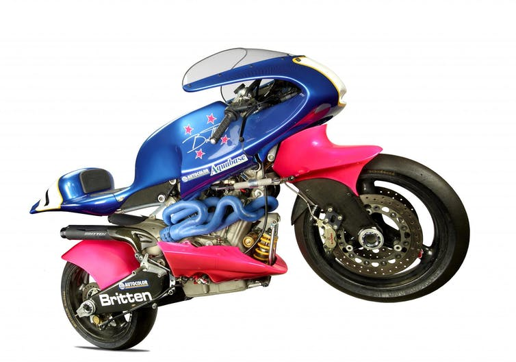 Very fast blue and pink motorbike