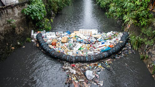 Litter gathers in a pollutant trap.
